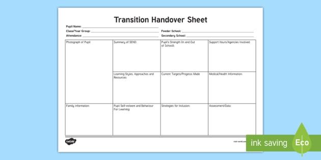 sen transition handover sheet  teacher made