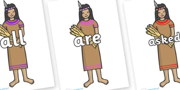 Tricky Words on American Indian - Tricky words, DfES Letters and Sounds, Letters and sounds, display, words