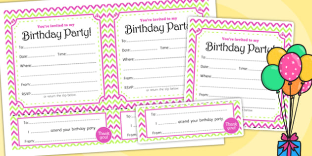 Zig Zag Birthday Party Invitations Pink And Green - birthdays