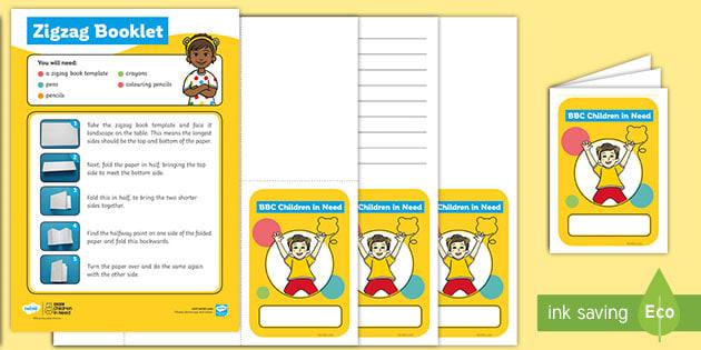 KS1 BBC Children in Need Zigzag Booklet