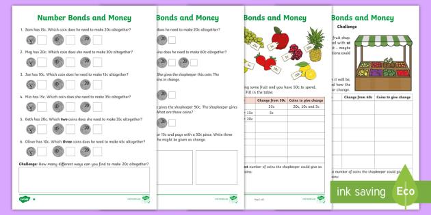 australia year 2 maths number bonds and money homework worksheet. Black Bedroom Furniture Sets. Home Design Ideas