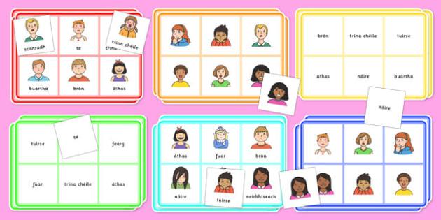Feelings Bingo Gaeilge - gaeilge, irish, feelings, bingo, activity, game, class, play