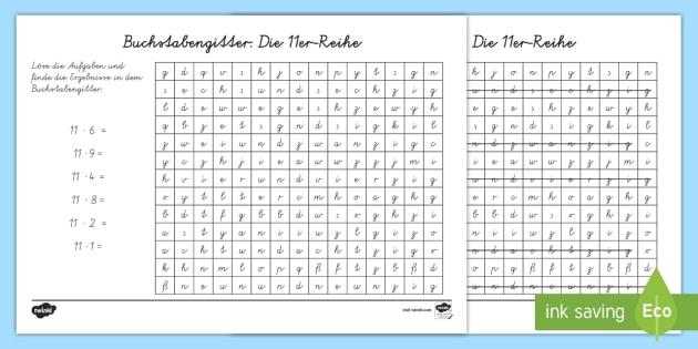 Buchstabengitter: Die 11er Reihe Arbeitsblatt