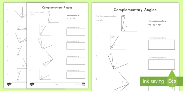 Complementary Angles Worksheet / Activity Sheet - angles right angles complementary angles missing