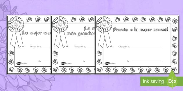 Certificados Para Colorear Día De Las Madres Certificado