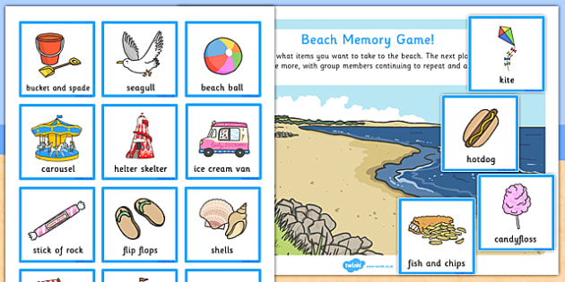 Beach Memory Game - games, activity, activities, sea, remember