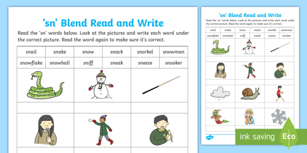 Sn Blends Read And Write Activity Sheet Phonics Consonant