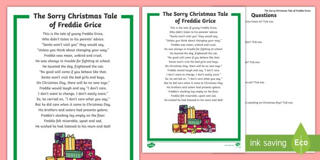 ks1 the sorry christmas tale of freddie grice comprehension poem. Black Bedroom Furniture Sets. Home Design Ideas