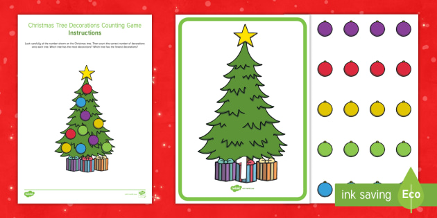 Christmas Tree Cards Ks1.Christmas Tree Decorations Counting Game Eyfs Early Years