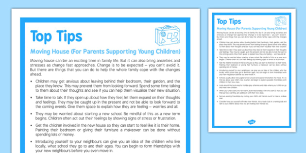 Top Tips Moving House Parents Supporting Young Children - top tips, moving house, parents, supporting, young children
