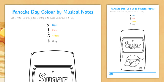 Pancake Day Colour by Musical Notes Activity Sheet - colour, musical notes, activity, sheet, pancake day, worksheet