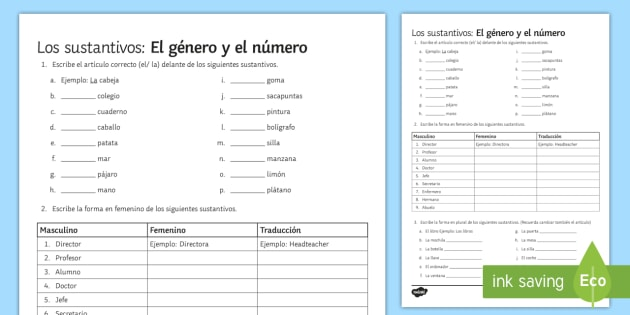 Grammar Worksheets For Grade 3 Genders idea gallery