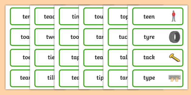 Initial t Sound Word Cards - t, t sound, sounds, letters, words