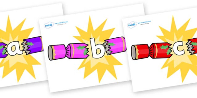 Phase 2 Phonemes on Christmas Crackers (Cracking) - Phonemes, phoneme, Phase 2, Phase two, Foundation, Literacy, Letters and Sounds, DfES, display