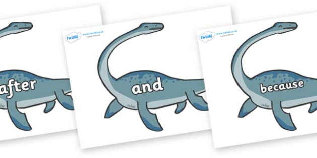Connectives on Plesiosaur - Connectives, VCOP, connective resources, connectives display words, connective displays