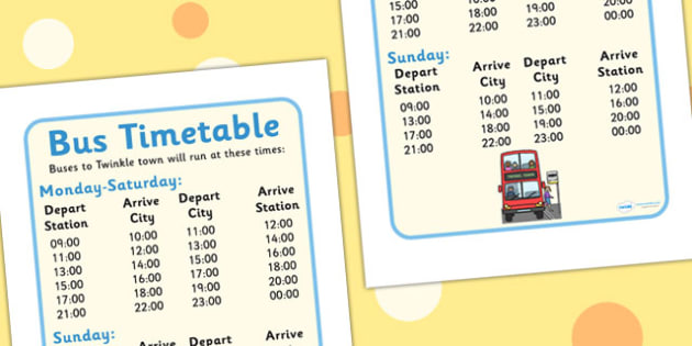 Bus Station Role Play Timetable - Bus role play, transport, timetable, time table, bus route, role play, buses, bus station, ticket