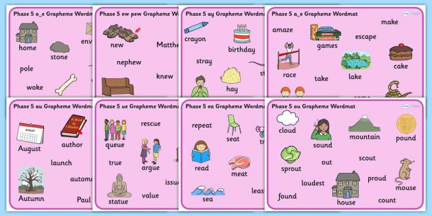 Phase 5 Grapheme Word Mat Resource Pack - graphemes, phase five