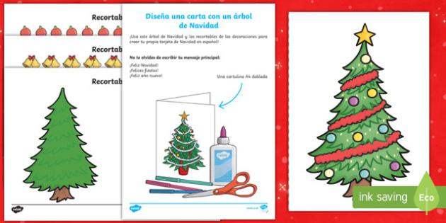 Design Your Own Christmas Tree Christmas Card Spanish