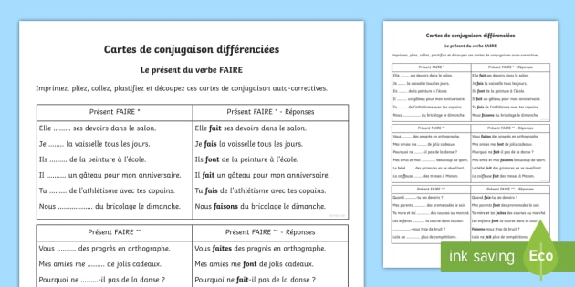Cartes De Conjugaison Faire Au Present Teacher Made