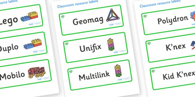 Emerald Themed Editable Construction Area Resource Labels - Themed Construction resource labels, Label template, Resource Label, Name Labels, Editable Labels, Drawer Labels, KS1 Labels, Foundation Labels, Foundation Stage Labels