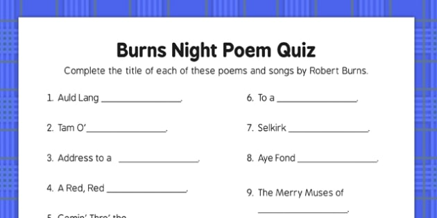Burns Night Poetry Quiz - Elderly, Reminiscence, Care Homes, Burns' Night
