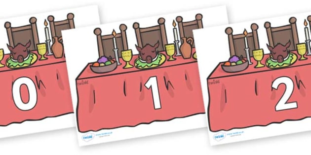 Numbers 0-31 on Dining Tables - 0-31, foundation stage numeracy, Number recognition, Number flashcards, counting, number frieze, Display numbers, number posters
