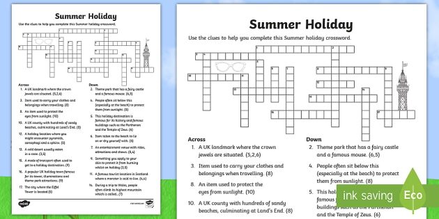 Summer Holiday Crossword Puzzle Activity Long Journey Tourism