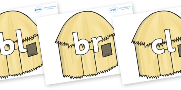 Initial Letter Blends on Straw houses - Initial Letters, initial letter, letter blend, letter blends, consonant, consonants, digraph, trigraph, literacy, alphabet, letters, foundation stage literacy