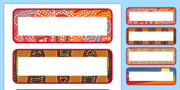 editable aboriginal style border labels editable aboriginal