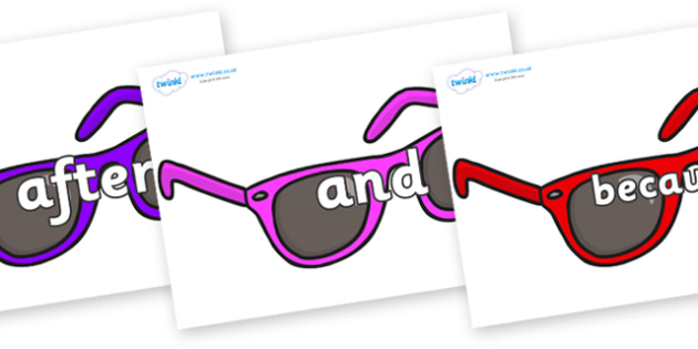 Connectives on Sunglasses - Connectives, VCOP, connective resources, connectives display words, connective displays