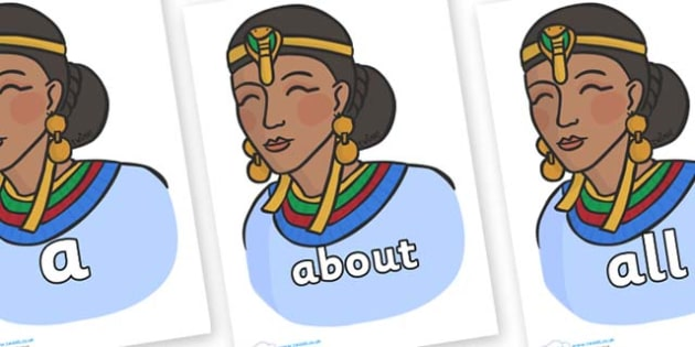 100 High Frequency Words on Egyptian Women - High frequency words, hfw, DfES Letters and Sounds, Letters and Sounds, display words