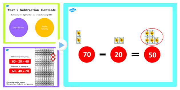 Y2 Subtract 2 Digit Number Tens Not Cross 100 Subtract Same Tens