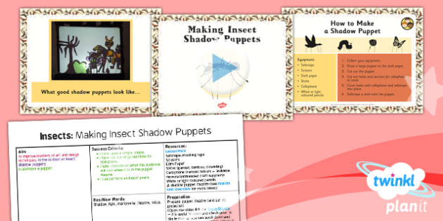 Art: Insects Unit: Making Insect Shadow Puppets LKS2 Lesson Pack 4