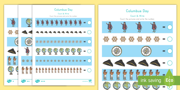 columbus day math differentiated counting activity sheet worksheet