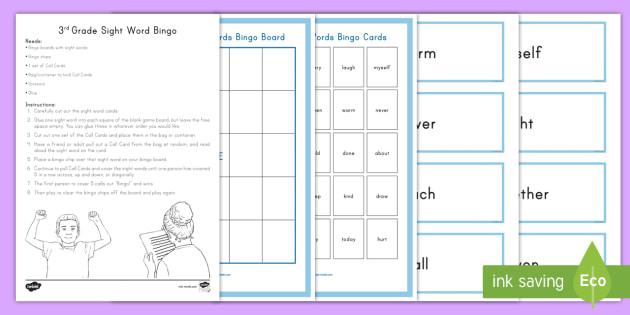 3rd grade sight words bingo game foundational skills reading