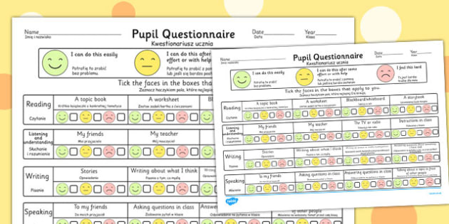 Pupil Questionnaire Polish Translation - polish, questionnaire