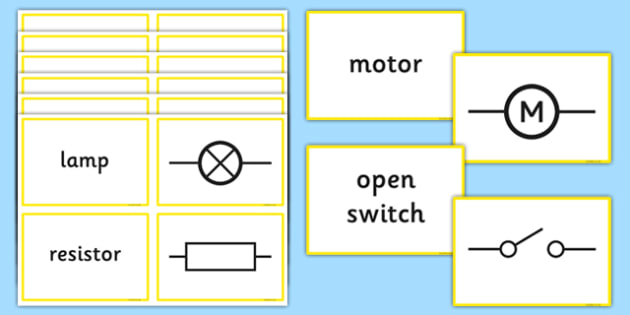 Electric Circuit Symbol Split Cards - electric circuit, symbol