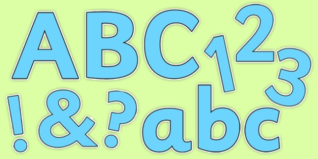 Display Lettering & Symbols (Pure Blue) - Display lettering, display letters, alphabet display, letters to cut out, letters for displays, coloured letters, coloured display, coloured alphabet