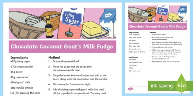 Chocolate Coconut Goats' Milk Fudge Recipe
