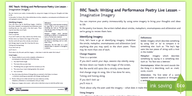 new bbc teach writing and performance poetry live lesson poetic. Black Bedroom Furniture Sets. Home Design Ideas
