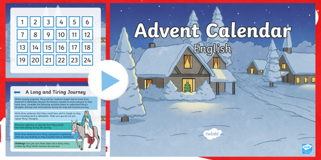 lks2 advent calendar english challenges powerpoint spag. Black Bedroom Furniture Sets. Home Design Ideas