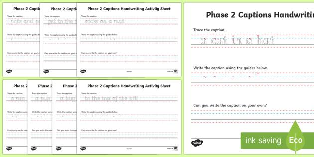 Phase 2 Captions Handwriting Activity Sheet - phase two, phase 2, captions, handwriting, write, activity