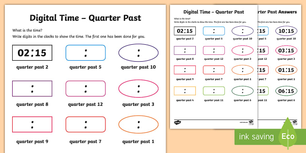 Digital Time – Quarter Past Worksheet / Activity Sheet - NI