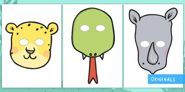 Ronald the Rhino Role-Play Masks - EYFS, Early Years, KS1, Key Stage 1, role-play, Twinkl Fiction, Twinkl Originals, Jungle, Forest, Rh