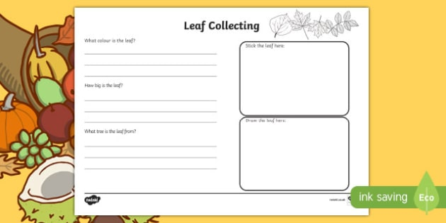 Leaf Collecting Writing Frame - leaf collecting, leaves, writing frame, writing, colour and write, frames for writing, writing template, writing aid,
