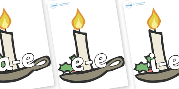 Modifying E Letters on Christmas Candles - Modifying E, letters, modify, Phase 5, Phase five, alternative spellings for phonemes, DfES letters and Sounds