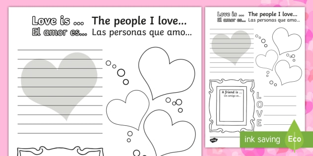 Valentine's Day Worksheet - English / Spanish - Valentines ...