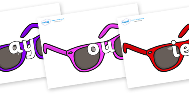 Phase 5 Phonemes on Sunglasses - Phonemes, phoneme, Phase 5, Phase five, Foundation, Literacy, Letters and Sounds, DfES, display