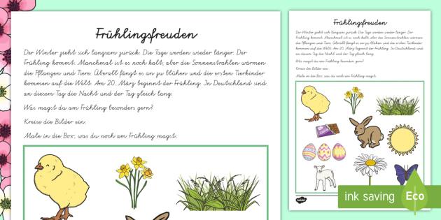 Frühlingsfreuden Arbeitsblatt - Frühling, Ostern, Eis, Blumen