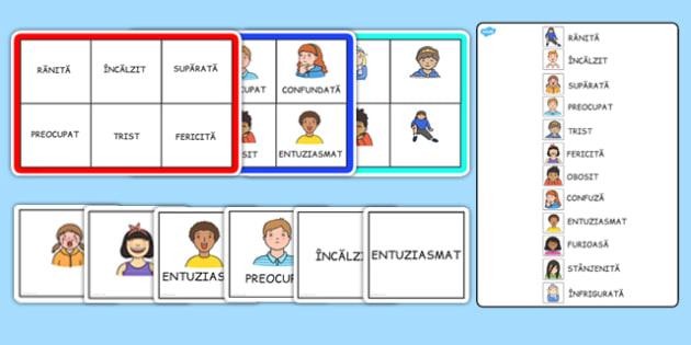 Sentimente - Bingo - sentimente, bingo, emoții, dezvoltare personală, copii, romanian, materiale, materiale didactice, română, romana, material, material didactic